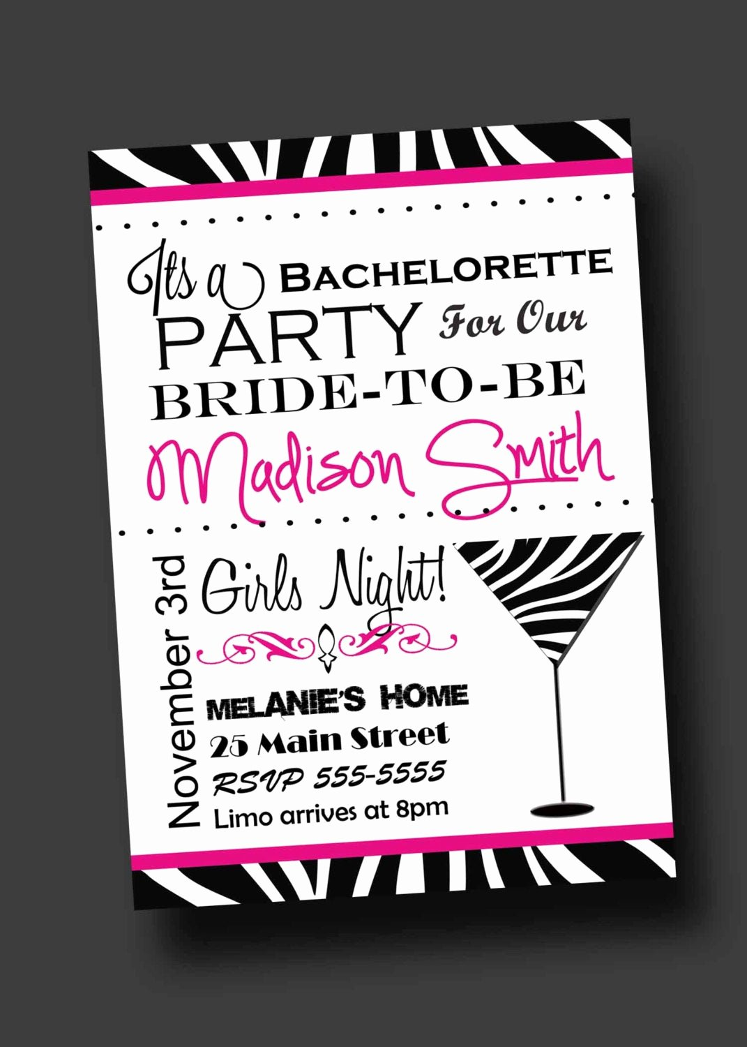Bachelor Party Invites Template Fresh Bachelorette Party Invitation Zebra Print Printable Digital