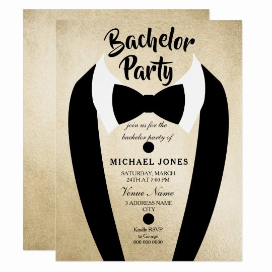 Bachelor Party Invites Template Luxury Gold Tuxedo Bow Tie Bachelor Party Invite