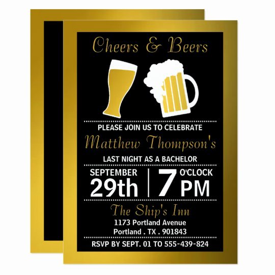 Bachelor Party Invites Template New Cheers & Beers Black & Gold Bachelor Party Invitation