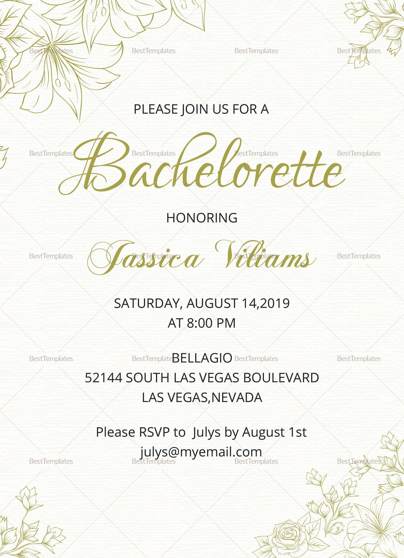 Bachelorette Party Invitation Template Free Awesome Simple Bachelorette Party Invitation Design Template In