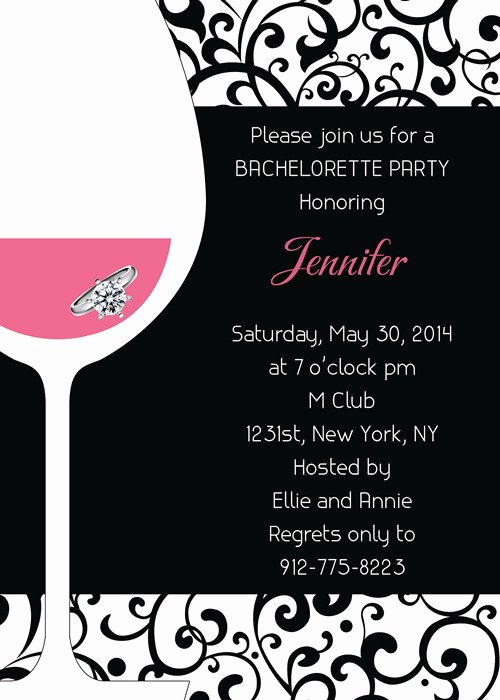 Bachelorette Party Invitation Template Free Elegant Pink and Black Wine themed Bachelorette Invitation Ideas