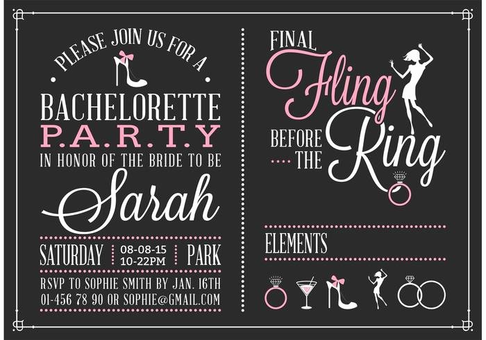 Bachelorette Party Invitations Template Free Inspirational Bachelorette Party Invitation Vector Download Free