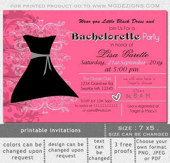 Bachelorette Party Invitations Template Free Inspirational Printable Little Black Dress Bachelorette Party Invitation