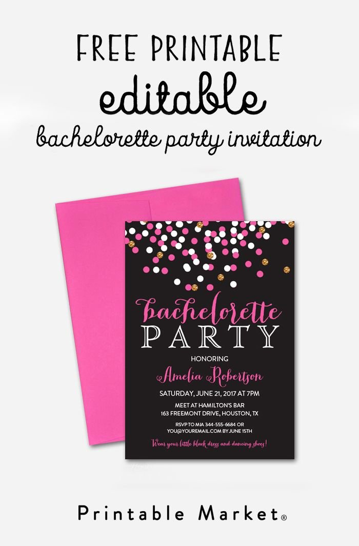 Bachelorette Party Invitations Template Free Lovely Free Editable Bachelorette Party Invitation Gray Hot