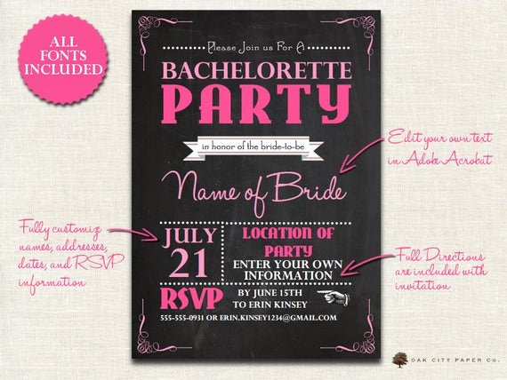 Bachelorette Party Invitations Template Free New Items Similar to Bachelorette Invitation Chalkboard