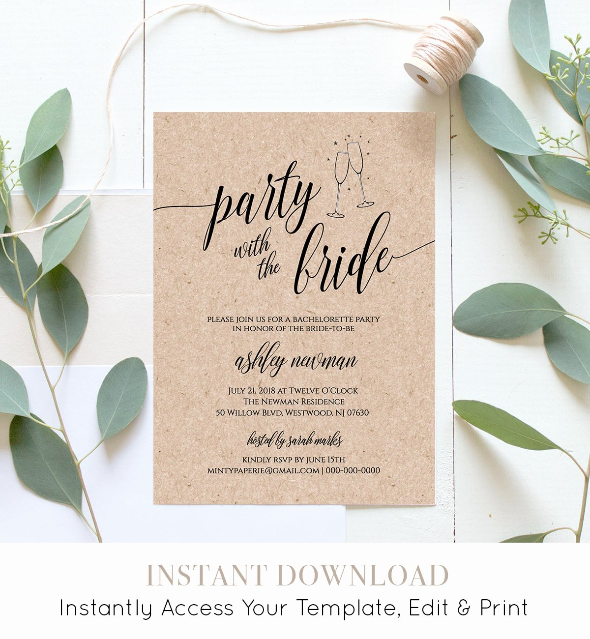 Bachelorette Party Invite Template Free Elegant Bachelorette Party Invitation & Itinerary Printable