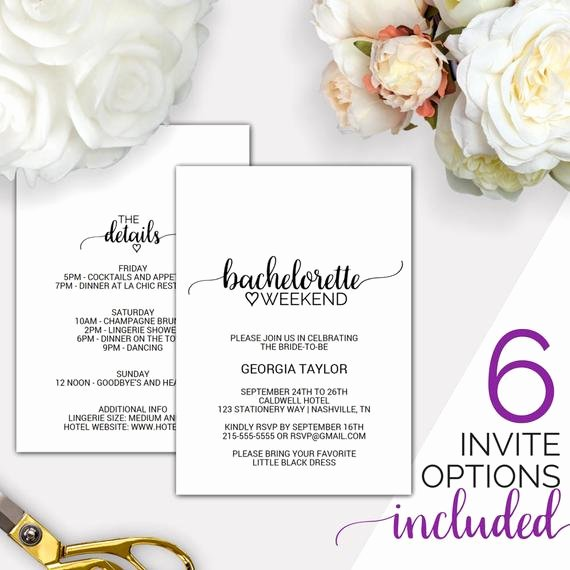 Bachelorette Party Invite Template Free Elegant Bachelorette Weekend Invitation W Itinerary Template