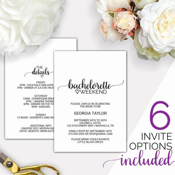 Bachelorette Party Invite Template Free Elegant Bachelorette Weekend Invitation W Itinerary Template