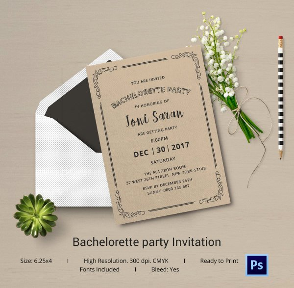 Bachelorette Party Invite Template Free Fresh Bachelorette Invitation Template 40 Free Psd Vector