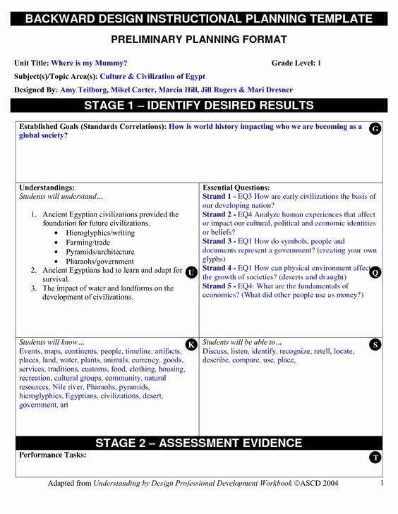 Backwards Lesson Planning Template Best Of Backwards Design Lesson Plan Template