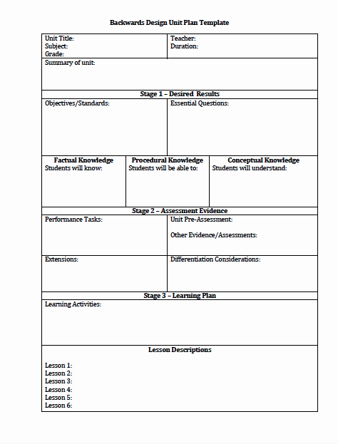 Backwards Lesson Planning Template Elegant the Idea Backpack Unit Plan and Lesson Plan Templates for