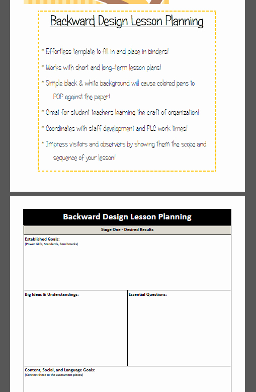 Backwards Lesson Planning Template New Backward Design Lesson Plan Template