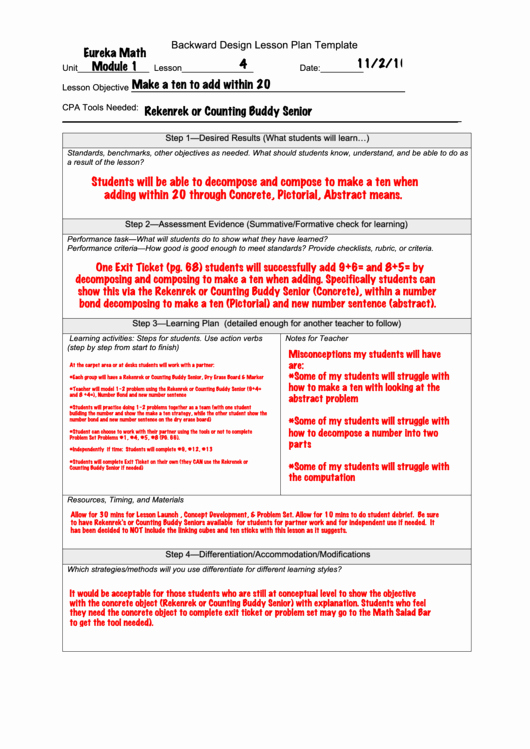Backwards Lesson Planning Template New Backward Design Lesson Plan Template Printable Pdf
