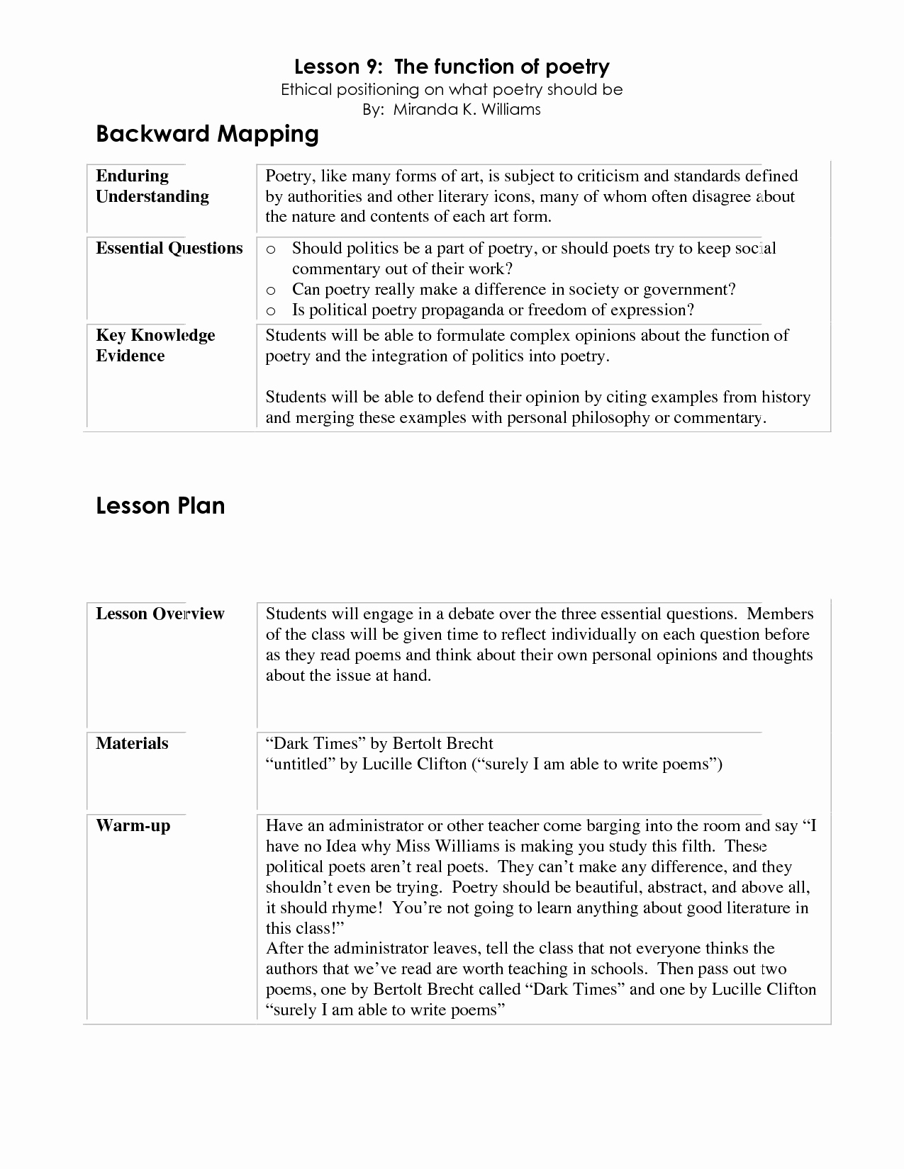 Backwards Lesson Planning Template New Backward Planning Template