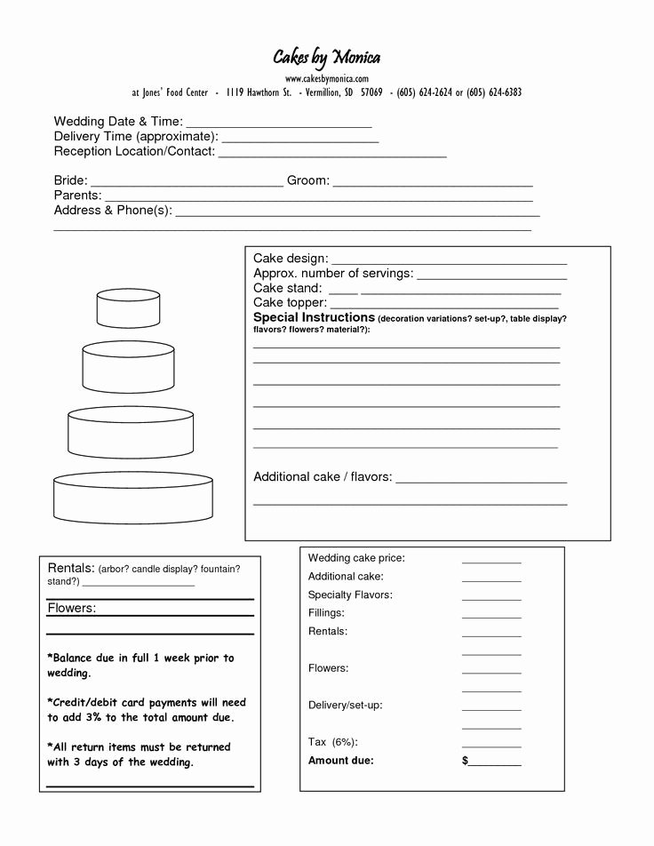 Bakery order form Template Free Beautiful Cake order form Doc Cakepins Cake
