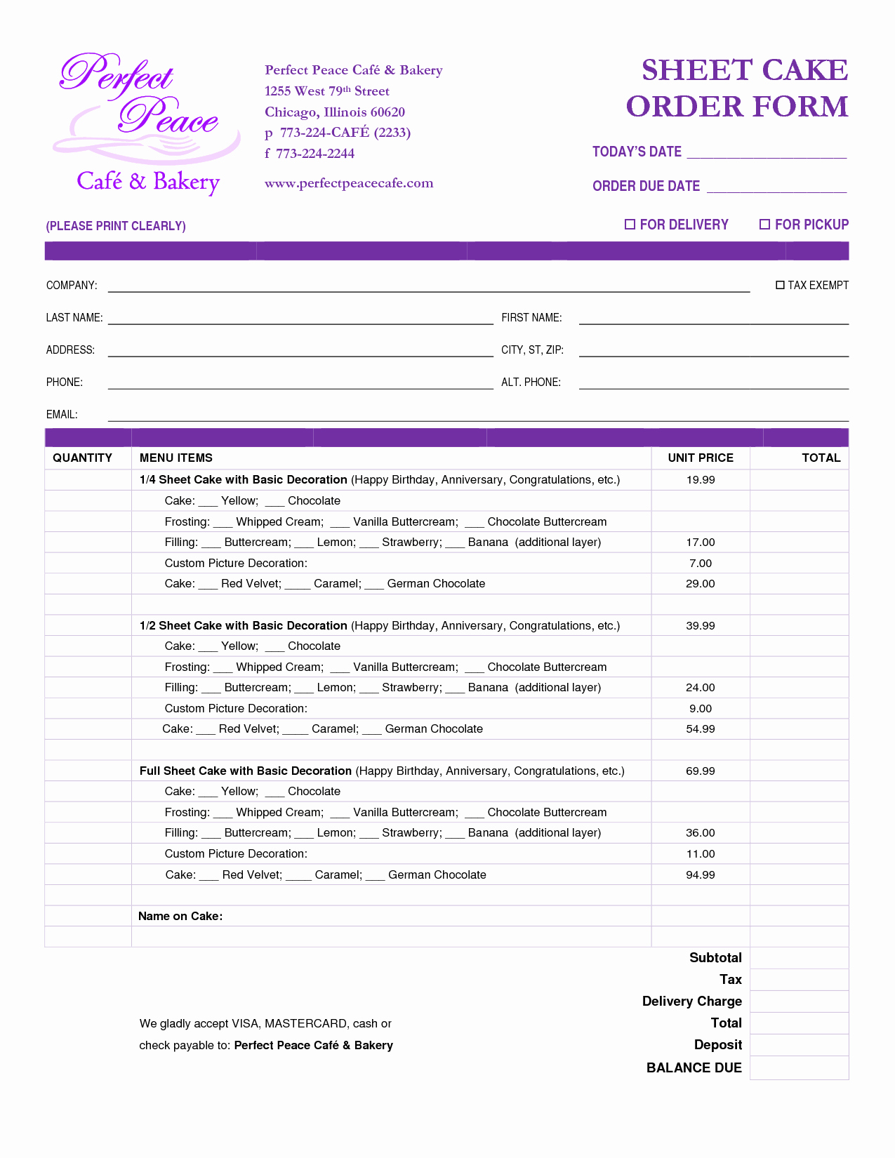 Bakery order form Template Free Beautiful Cake order form Template Free Google Search