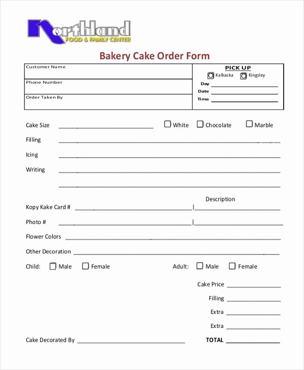 Bakery order form Template Free Beautiful Free 10 Sample Cake order forms In Word