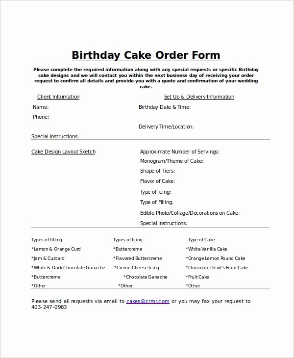 Bakery order form Template Free Beautiful order form Template 12 Free Word Pdf Documents