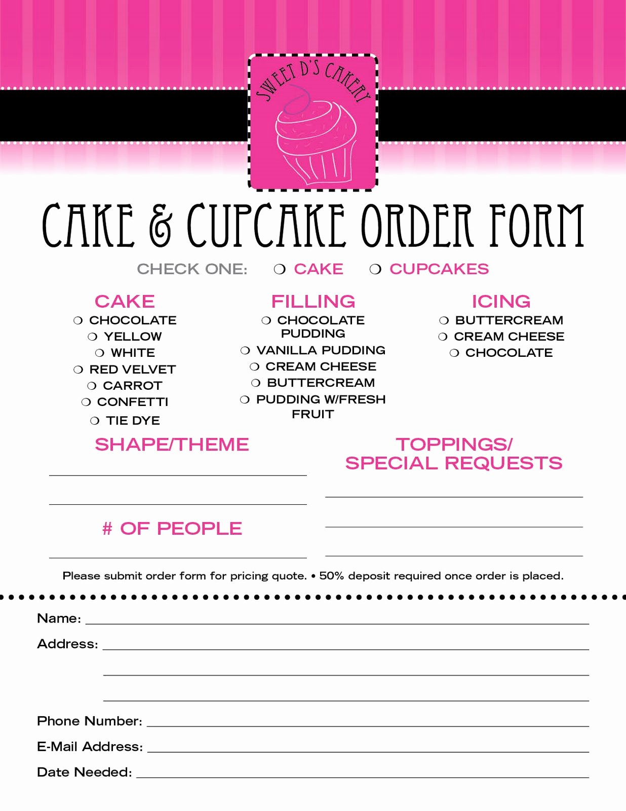 Bakery order form Template Free Inspirational Sweet D S Cakery Download Our order form Here