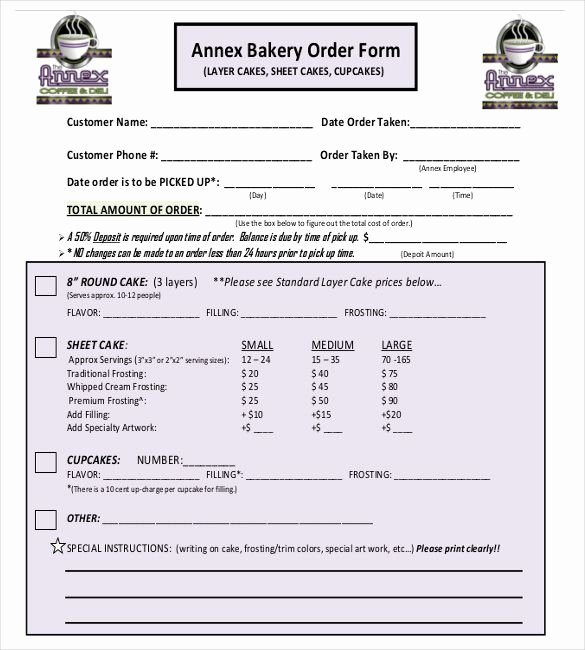 Bakery order form Template Free Lovely 15 Bakery order Templates – Free Sample Example format