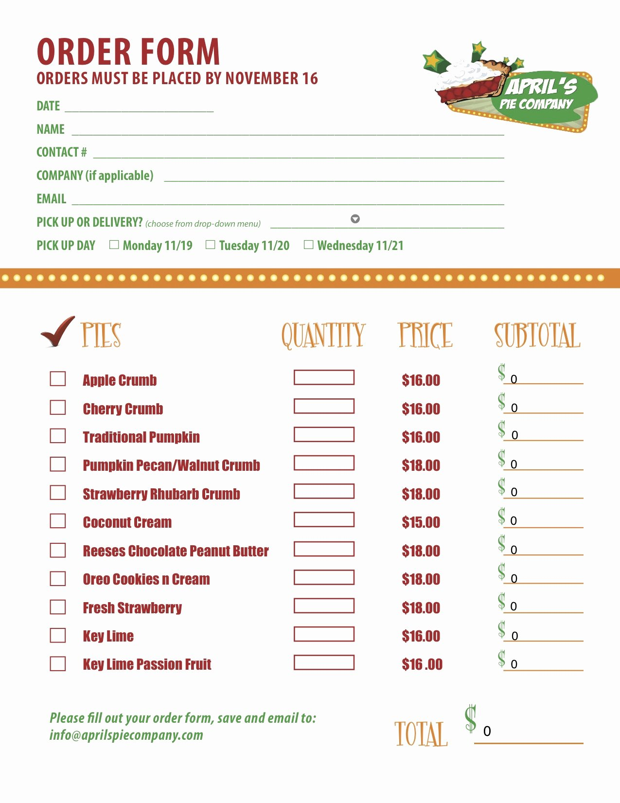 Bakery order form Template Free Luxury Delicious Media for April's Pie Pany