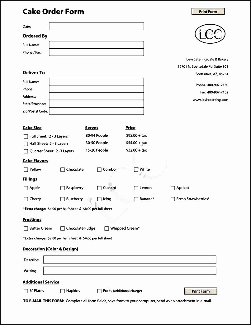Bakery order form Template Free Unique Cake order form Template Free