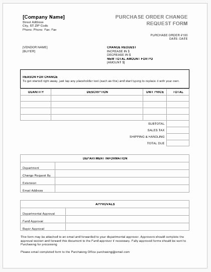 Bank Change order form Template Beautiful Purchase order Change Request forms