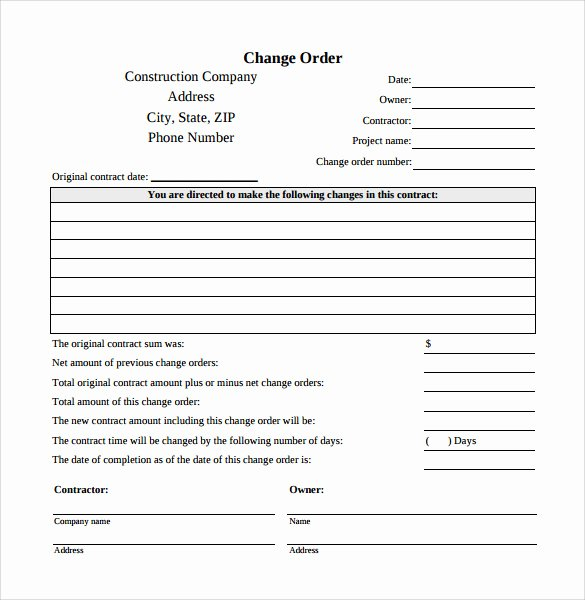 Bank Change order form Template Fresh Change order Template 8 Things You Should Do In Change