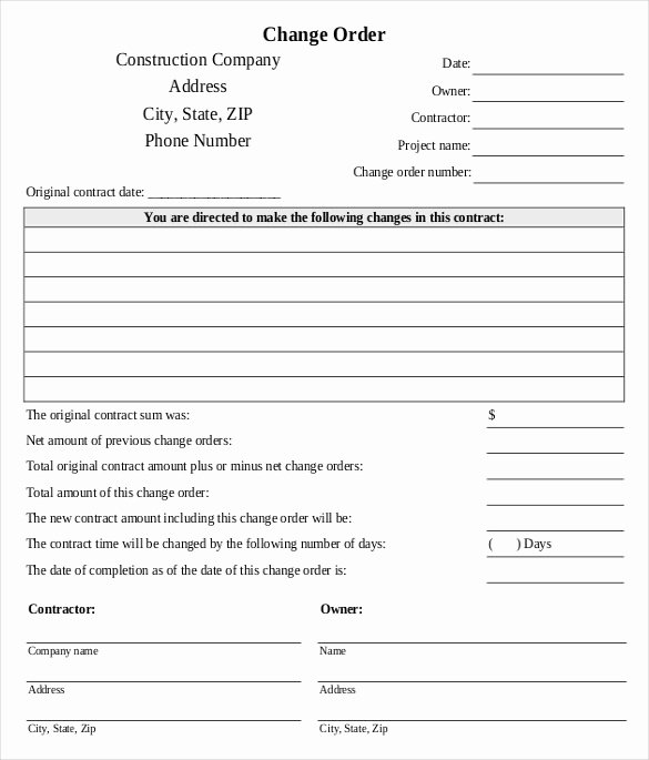 Bank Change order form Template Inspirational 24 Change order Templates Word Pdf Google Docs