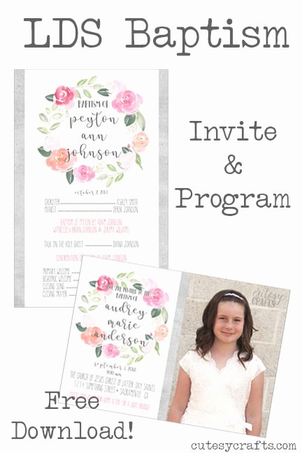 Baptism Invitation Template Free Download Beautiful Free Lds Baptism Program Template Cutesy Crafts
