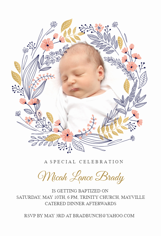Baptism Invitation Template Free Download Elegant Wreath Baptism & Christening Invitation Template Free