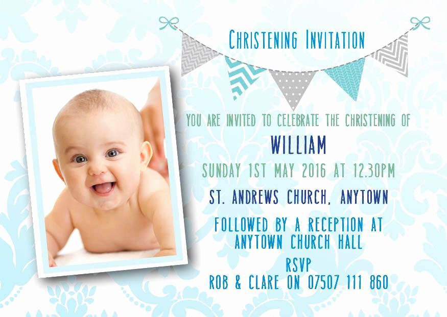 Baptism Invitation Template Free Download New Personalised Bunting Christening Invitations Boy