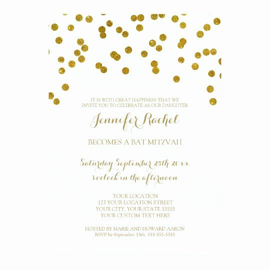 Bar Mitzvah Invitation Template Beautiful Gold Confetti Bat Mitzvah Invitations