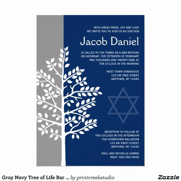 Bar Mitzvah Invitation Template Inspirational Gray Navy Tree Of Life Bar Mitzvah Invitations