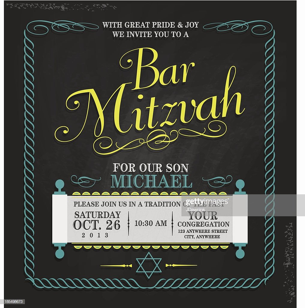 Bar Mitzvah Invitation Template Luxury Bar Mitzvah Invitation Design Template Chalkboard Stock
