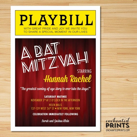 Bar Mitzvah Invitation Template Luxury Broadway Bat Mitzvah or Bar Mitzvah Playbill Invitations with