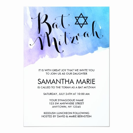 Bar Mitzvah Invitation Template Unique Purple Teal Watercolor Bat Mitzvah Invitations