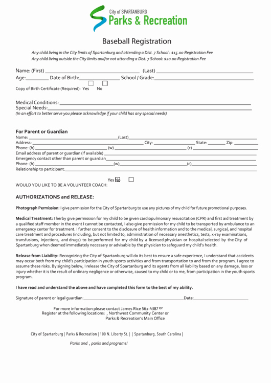Baseball Registration form Template Awesome top 5 Baseball Registration form Templates Free to