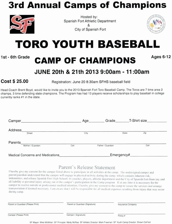 Baseball Registration form Template Beautiful Annual Camp Of Champions Baseball Player Registration form