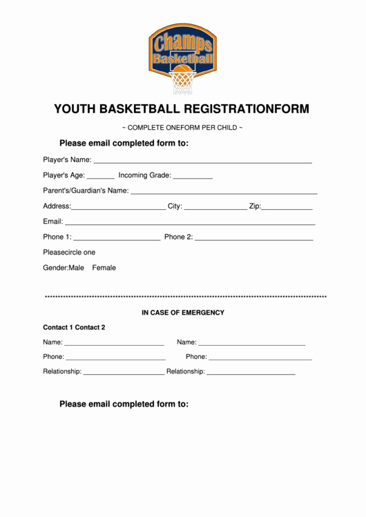 Baseball Registration form Template Best Of Youth Basketball Registration form Printable Pdf