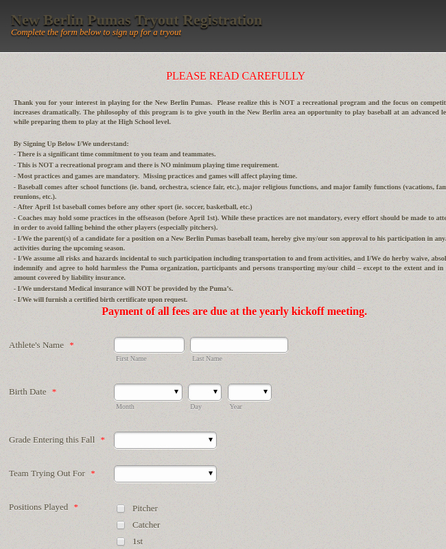 Baseball Registration form Template Lovely Sports forms form Templates