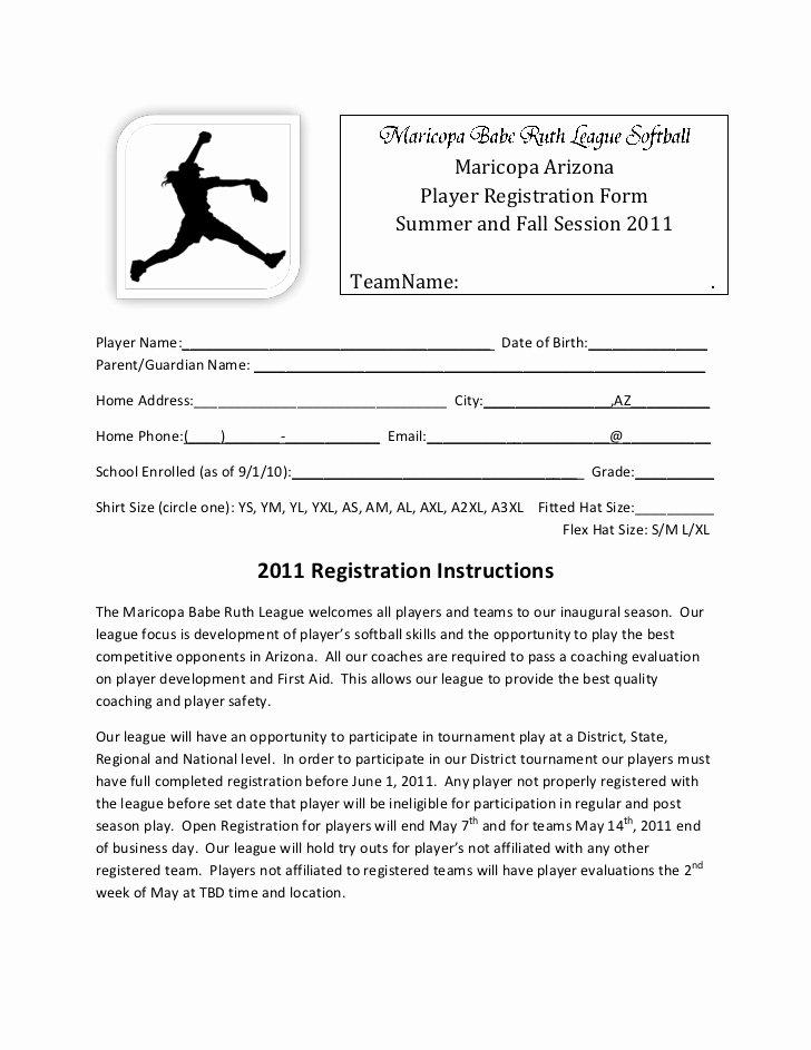 Baseball Registration form Template Luxury Mbrl softball Registration