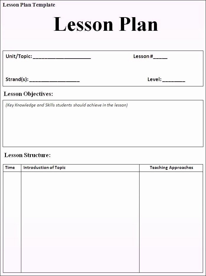 Basic Lesson Plan Template Word Best Of Daily Lesson Plan Template Fotolip