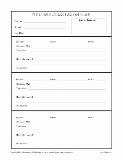 Basic Lesson Plan Template Word Luxury Daily Multi Class Lesson Plan Template Secondary
