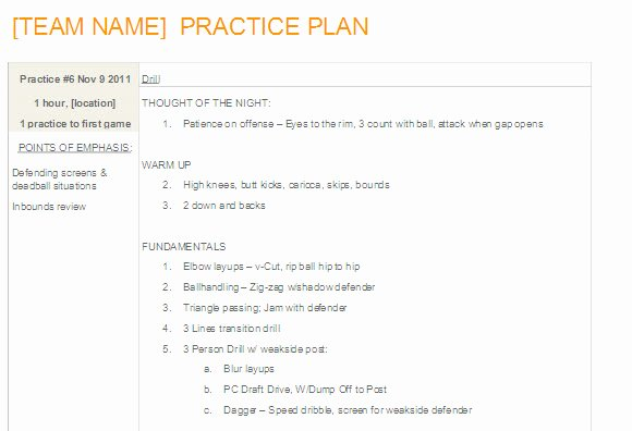 Basketball Practice Plan Template Word Elegant Easy to Update Basketball Practice Plan Template In Ms