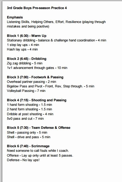 Basketball Practice Schedule Template Awesome 3rd Grade Boys Basketball Practice Plan 4