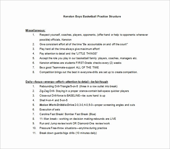 Basketball Practice Schedule Template Lovely Basketball Practice Plan Template 3 Free Word Pdf
