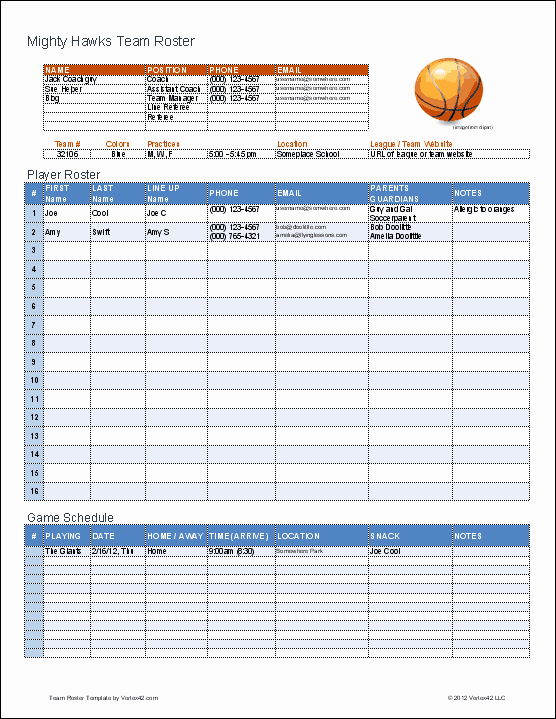 Basketball Practice Schedule Template New Create A Printable Basketball Roster with This Excel