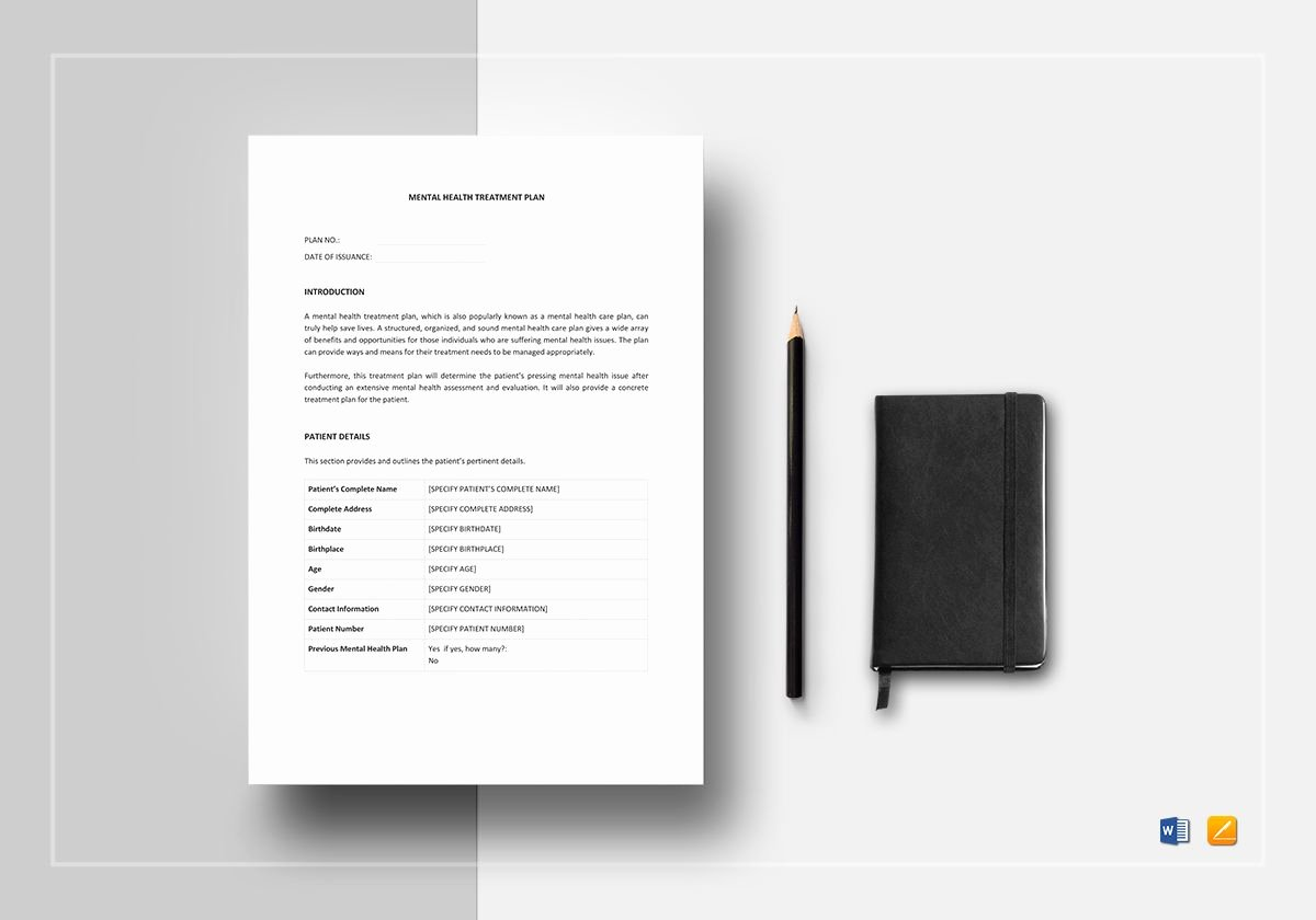 Behavioral Health Treatment Plan Template Inspirational Mental Health Treatment Plan Template In Word Apple Pages