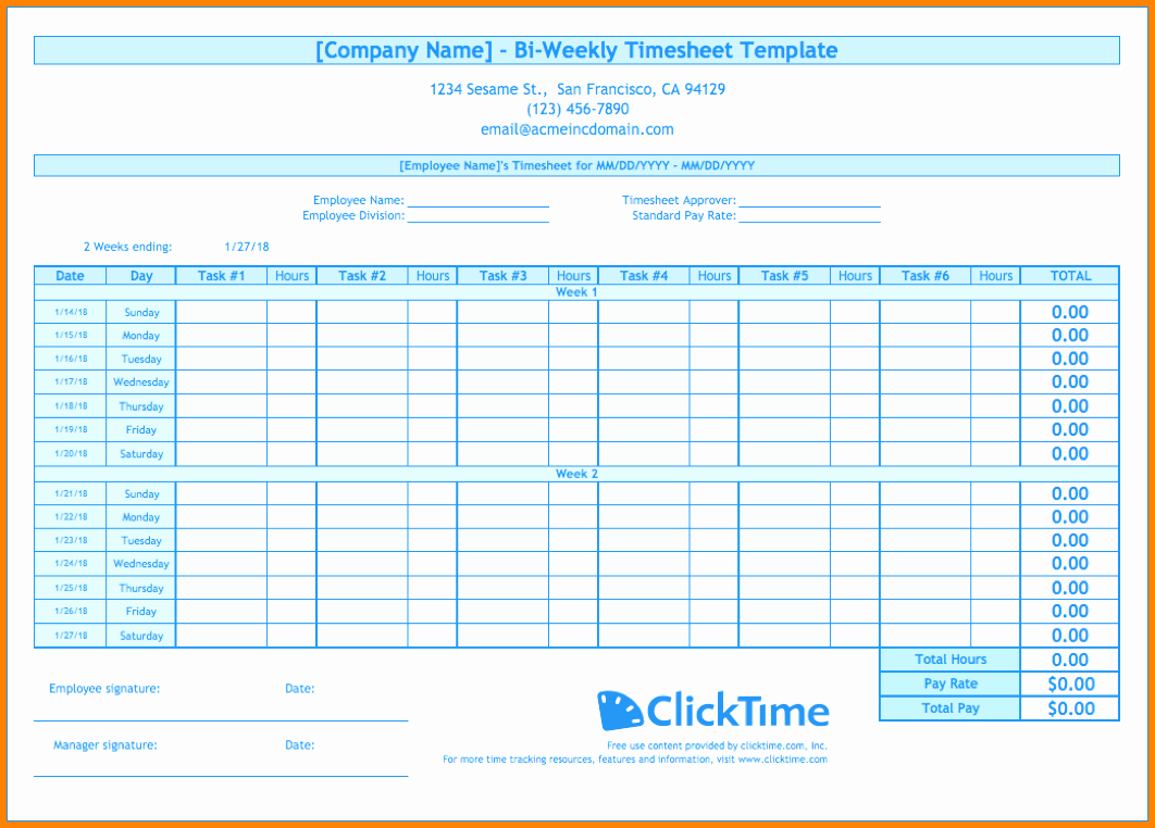Bi Weekly Schedule Template Awesome 8 Bi Weekly Timesheet Template